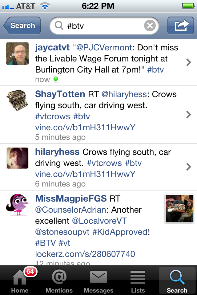 Tweets as displayed in the echophone interface, they take up different amounts of space depending on how long they are.