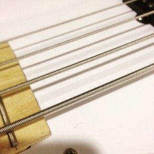 between the neck and the pickup on the Gamma electric bass