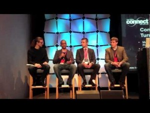 Gahlord Dewald moderating a panel of smart technologists at Inman's Real Estate Connect
