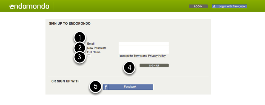 1: Register at https://www.endomondo.com/signup