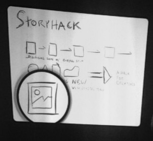 A version of the Storyhack image which is also below. It has no color yet.