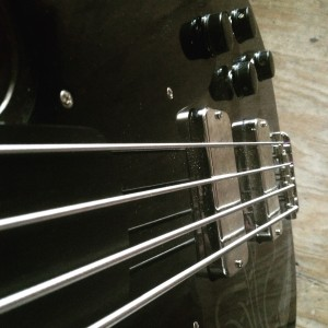 Looking down the neck of the Creston fretless.